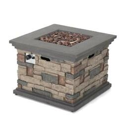Stone Square Outdoor Gas Fire Pit Heater Patio Garden Winter Cold Heating 32X24