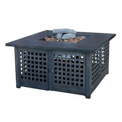20 In. Slate Tile Propane Gas Fire Pit Firepit Heater Outdoor Garden Patio Heat