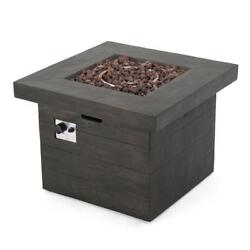 Wood Finish Square Gas Outdoor Fire Pit Firepit Heater Patio Garden Heating Deck