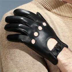 Men Soft Black Leather Driving Gloves Winter Touchscreen Motorcycle Gloves $17.97