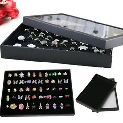 Jewelry Box Ring Display Case Organizer Storage Box Velvet Tray Holder Clear Top
