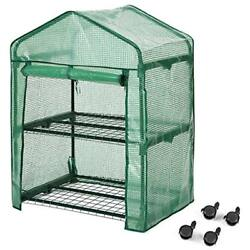 2-Tier Greenhouse Greenhouses With Clear Cover And Casters Portable Garden House