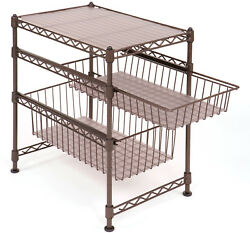 Stackable Kitchen Cabinet Organizer Padded Feet Easy-To-Assemble (Bronze)