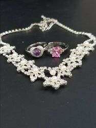 UNBRANDED 3-Piece Costume Jewelry GRABBAG 2x Rings~ 9 +Rhinestone Necklace