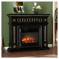 Electric Fireplace Mantel Adjustable Heater 1500W Black with Gold Accents Deco