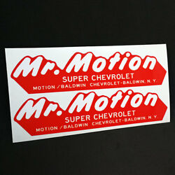 Pair of MR. MOTION BALDWIN CHEVROLET NY Vintage Style DECALS Vinyl STICKERS