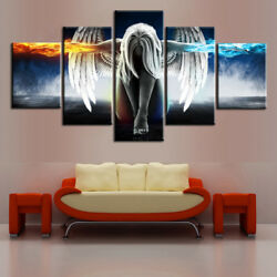 Home Living Room 5PCS Picture Angel Wings Canvas Wall Art Print Oil Unframed US