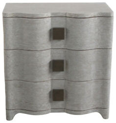 Linen Wrapped MidCentury Gray Bedside Table  Chest Drawers Fabric Silver Curved