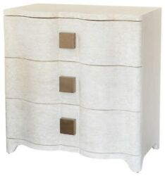 Linen Wrapped MidCentury Off White Bedside Table  Chest Drawers Gold Curved
