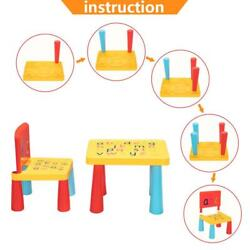 Kids Baby Table Chair Set Children Play Letter Education Learning Activity Study