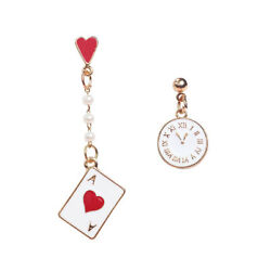 Trendy Cute Clock Poker Asymmetric Dangle Earrings Dreamy Ear Stud Jewelry Gift