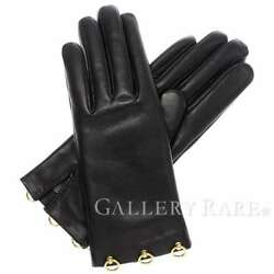 HERMES Gloves Lambskin Cashmere Black Collier Size 7 France Authentic 5027866