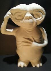 Vntg E. T. The Extra Terrestrial Figure Ceramic Coin Bank Unpainted No Stoppers
