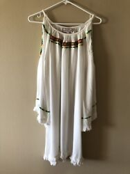 PIA PAURO Embroidered White Beach Dress Cover Up Size Large $30.00