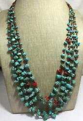 Gorgeous four strands graduate size turquoise nuggets necklace23