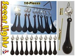 10 ANTIQUE GOTHIC BLACK CHANDELIER PARTS GLASS CRYSTALS DROPS ORBS PRISM BEADS GBP 21.99