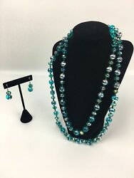 Beautiful Faceted Turquoise Necklace Crystal Beads w Glass Silver Splatter Beads