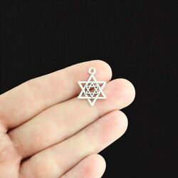 10 Star of David Charms Antique Silver Tone SC3464 $3.99