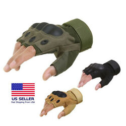 Outdoor Army Military Tactical Motorcycle Hunt Hard Knuckle Half Finger Gloves $7.99