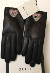 GUCCI Patch 25 Hand Gloves Leather Lambskin 7.5 M 100% Cashmere Lined Brand new