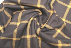 New Pendleton Navy and Gold Plaid Shirt Weight wool fabric by the yard