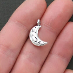 8 Moon Charms Antique Silver Tone 2 Sided with Etched Decorations - SC1847 $3.49