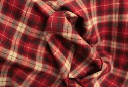 New Pendleton Red Robertson Plaid Shirt Weight wool fabric by the yard