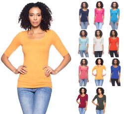 Women's Basic Seamless Stretch Scoop Neck 34 Sleeve Fitted Top T-Shirt Solids