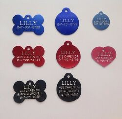Custom Engraved Pet ID Tags for Dogs and Cats Bone Shape Round Shape and Heart