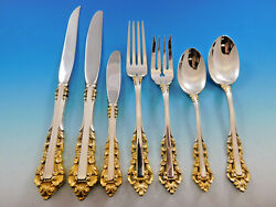 Medici Golden Accent by Gorham Sterling Silver Flatware Set 12 Service 93 Pieces