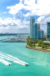 South Beach Miami From Sea with South Pointe Park Florida Photo Art Print Poster $12.99