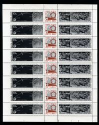 1966 Luna-9 complete sheet of eight se-tenant strips variety imperf. at.left