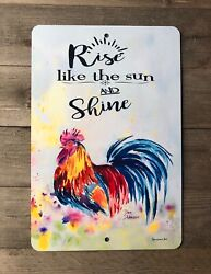 Rise And Shine Rooster Sign Farmhouse Sign Home Decor Kitchen Sign Metal Sign $17.80