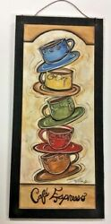 Cafe Espresso Stacked Coffee Mugs Kitchen Wooden Wall Art Sign 5x11