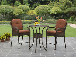 3 Piece High Bistro Orange Patio Set Outdoor Home Seating Furniture Garden Deck
