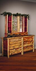 Red Cedar Log DRESSER & HUTCH WITH MIRROR- Rustic Cabin Collection- Made in USA