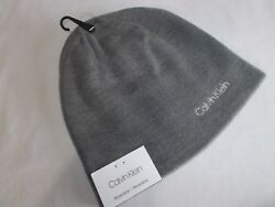 NWT Calvin Klein REVERSIBLE KNIT BEANIE No Cuff HEATHER GREY Adult OS