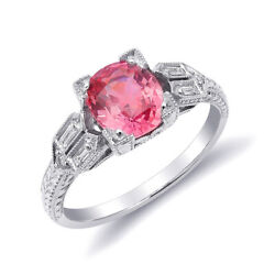 Platinum 1.77ct TGW Certified Padparadscha Sapphire and White Diamond Ring