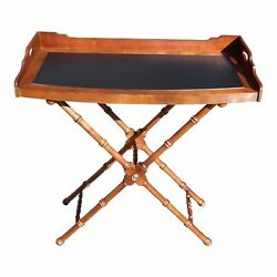 Lane Bow Front Butler Serving Tray Table & Solid Wood Faux Bamboo X Base Stand
