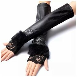 The Zoe Black Fingerless Leather Cashmere Lined Luxury Women's Gloves C16