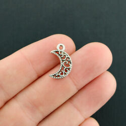 12 Crescent Moon Charms Antique Silver Tone 2 Sided - SC7882 $3.49