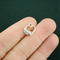 15 Angel Wing Heart Charms Antique Silver Tone 2 Sided - SC7428 $3.49