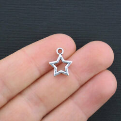12 Star Charms Antique Silver Tone 2 Sided SC2481 $3.99