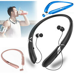 Sweatproof Stereo Neckband Headset Wireless Bluetooth 5.0 Retractable Headphones