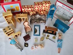 VINTAGE DOLL HOUSE GROUP-FAMILY-KITCHEN SET-FIRE PLACE SET-VICTORIAN SET-MORE!!!