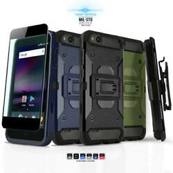 for ZTE BLADE VANTAGE [Tank Series] Phone Case Cover & Holster +Tempered Glass