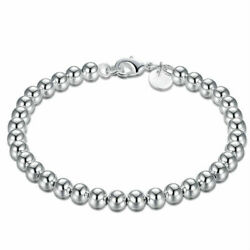 Womens 925 Sterling Silver 8mm Beads Ball String Chain Fashion Bracelet