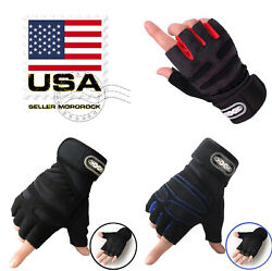 US Women Men Gym Gloves With Wrist Wrap Workout Weight Lifting Fitness Exercise $9.99