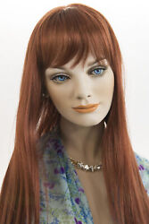 Fox Red Clear Cool Vivid Red Red Long Skin Top Straight Wigs $59.99