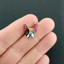 2 Dog Charms Gold Tone With Colorful Enamel French Bulldog E045 $3.94